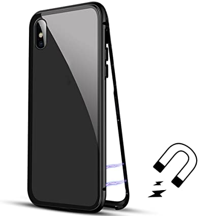 42aa3bfa7a0 Luxury Magnetic Adsorption Metal Case for iPhone X, Fengus Tempered Glass  Phone Protective Back Case