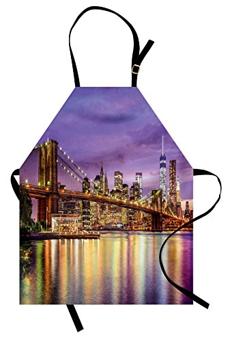 Ambesonne New York Apron, NYC Exquisite Skyline Manhattan Broadway Old Neighborhood Tourist Country Print, Unisex Kitchen Bib Apron with Adjustable Neck for Cooking Baking Gardening, Purple (Costume Broadway Nyc)