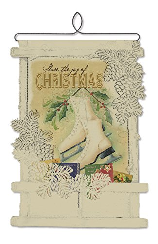 Heritage Lace Christmas Wall Decor Cafe Joy of Christmas-Skates Card Holder Wall Hanging, 14 by (Hanging Lace)