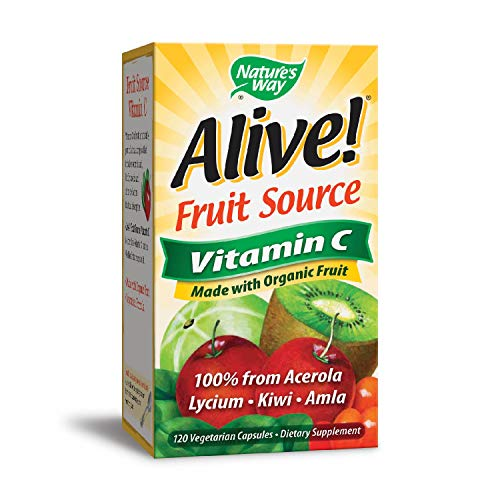 Nature's Way Alive!  Vitamin C Supplement, Made with Organic Fruit, 120 Vegetarian Capsules (Packaging May Vary) (Best Food Sources Of Vitamin C)