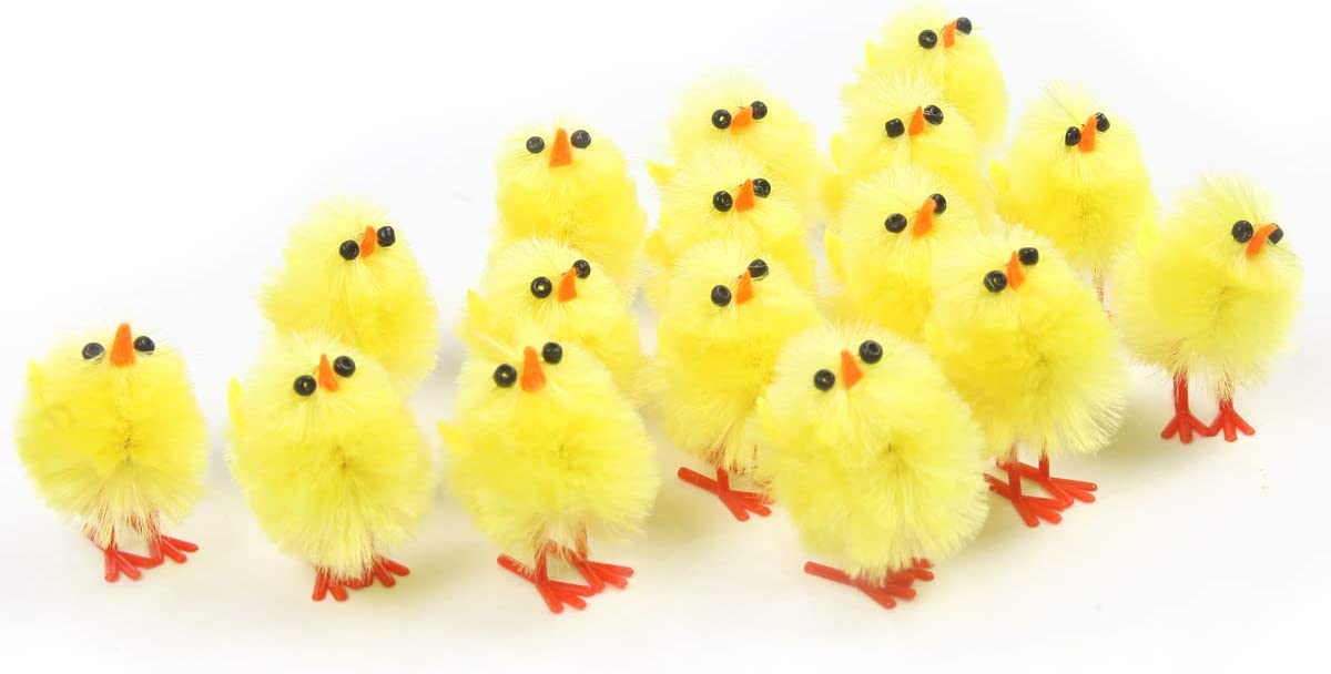 60 pack Mini Chicks Set 1 Inch,Fuzzy Newborn Chicken Decorations Party Favors for Kids,Office Funny Gift Surprise,Teachers Reward Gift Learning Toy