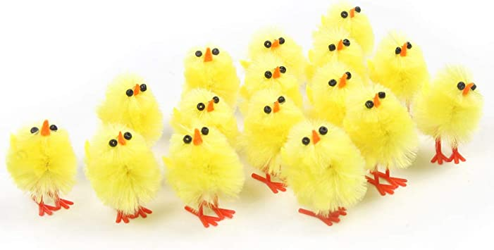 Colorful Fuzzy Set of 4 Easter Chicks Magnets