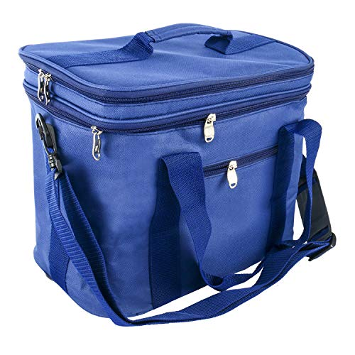 Yaegoo Extra Large Lunch Bag Adult Double Decker Compartment Cooler Bags Internal Tableware Placement Device Set Insulated Coolers Box for Men and Women(17.8L,Blue) (Lunch Box Plastic Insert)