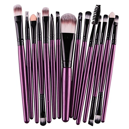 15 Piece Makeup Brushes Set Eyeshadow Eyeliner Eyelash Cosmetic Make Up Tool Professional Natural Beauty Palette Predilection Popular Eyes Colorful Rainbow Hair Highlights Glitter Travel Kit, Type-12 ()