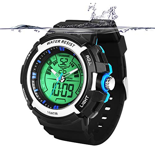 Dive 100m Watch (TEKMAGIC 10ATM Waterproof Digital Scuba Diving Watch 100m Underwater for Swimming and Running with Stopwatch and Luminous LCD Display Built-in)