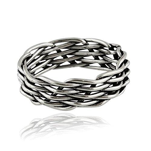 Basketweave Band Ring - Sterling Silver Basketweave Band Ring, Sizes 6-9 (6)
