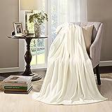 HYSEAS Velvet Plush Throw, Home Fleece Throw Blanket, 50 by 60-Inch, Ivory