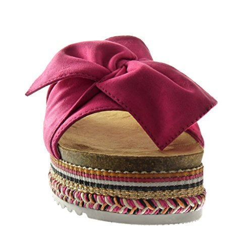 Angkorly - Scarpe da Moda sandali zeppe slip-on donna papillon intrecciato Tacco zeppa piattaforma 5 CM - Fushia