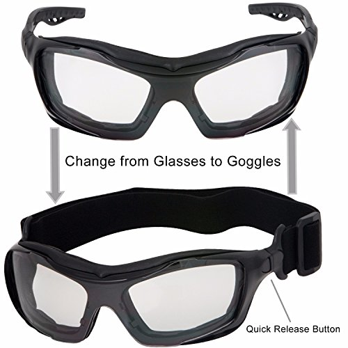 74f689e74a WYND Blocker Motorcycle Riding Glasses Extreme Sports Wrap Sunglasses (Black    Clear)