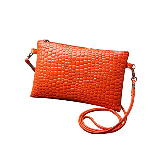 Clearance Sale! ZOMUSAR Fashion Women Girl Purse PU Leather Crocodile Pattern Crossbody Shoulder Mini Bag (Orange) (Bag Perfect Crocodile)