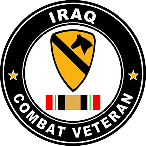Military Vet Shop US Army 1st Cavalry Division Iraq Combat Veteran Operation Iraqi Freedom OIF Window Bumper Sticker Decal 3.8