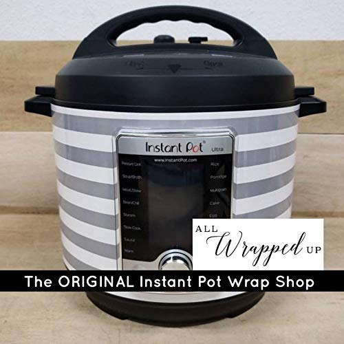 Instant Pot Wrap, Gray and White Stripes, Removable and can be wiped down, magnetic closure
