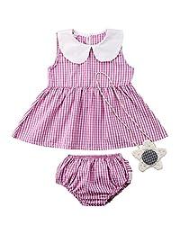 992d45815f5f Annvivi Newborn Baby Girls Sleeveless Plaid Summer Peter Collar Dress  Shorts Bottom with Ornament 3PCS Outfits