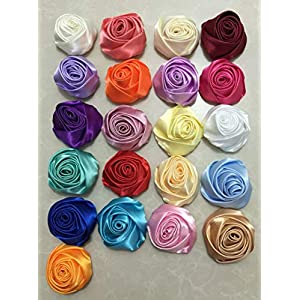 XGM GOU 10Pcs/Lot Handmade Dia 5.5Cm Fabric Satin Rose Flowers Artificial Flower DIY for Bridal Bridesmaid Wedding Bouquet Accessoires 4