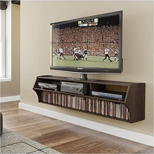 Pemberly Row 58 Floating TV Stand Shelf Wall Mounted Entertainment Center in Espresso