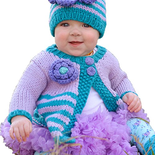 Huggalugs Baby or Toddler Girls Cozy Striped Flower Sweater or Beanie Hat (12-18 Months, Capri Sweater) ()