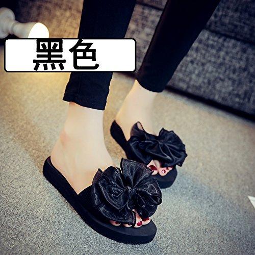Pantofole In Estate Fondo Qingchunhuangtang Per Piatto Nero Pantofole A Sandali dwqfx1Z