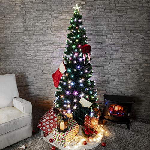 Belleze Premium Pre-Lit Fiber Optic 6' ft Artificial Christmas Tree w/Color LED Multicolor Lights and Stand, Green