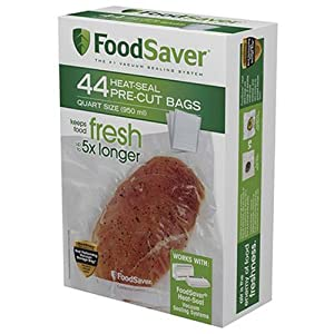 FoodSaver FSFSBF0226-000 Bags with Unique Multi Layer Construction Vacuum Sealers, 44 Quart Size Bags, Clear