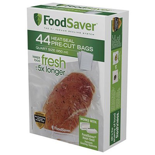 FoodSaver 1-Quart Precut Vacuum Seal Bags with BPA-Free Multilayer Construction for Food Preservation, 44 Count -