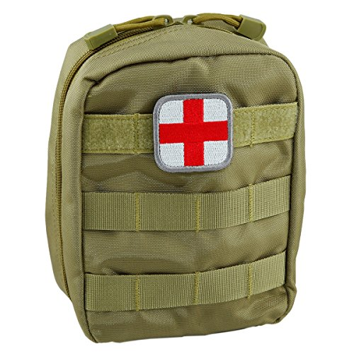 squaregarden Tactical Utility Pouch,Rip-stop Molle Pouches Medical First Aid Kit Gadget Bag/Medic Cross Patch(Pack of 1)/US Flag Patches(Pack of 3) (1 Bag Gadget)