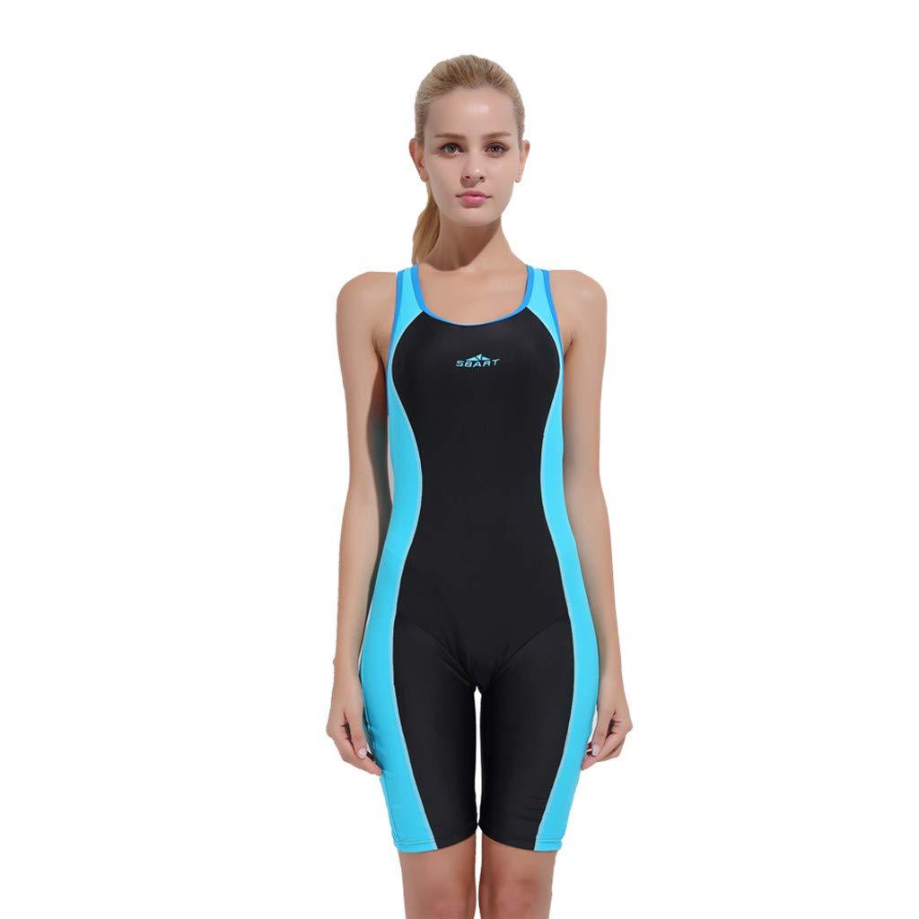 YEZIJIN Women Swimsuit Sexy One Piece Bodysuit Swimwear Professional Sport Bathing Suit Wetsuit top Long/Short Sleeve Sky Blue