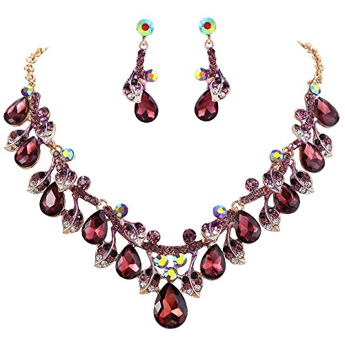 - BriLove Wedding Bridal Necklace Earrings Jewelry Set for Women Crystal Enamel Teardrop Cluster Leaf Vine Statement Necklace Dangle Earrings Set Deep Amethyst Color Gold-Tone