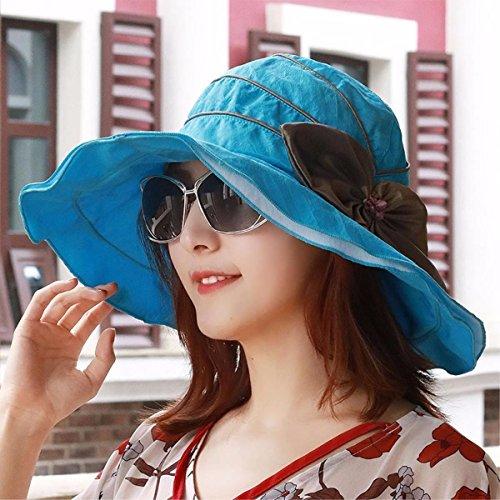 Visera Libre Sombrero Tapón Grande Al Aire Lo Hembra De Hat Gorra El Playa Largo Verano Sol Puede Azul La Plegarse Para Yangfeifei mz Enfriar A txw4qz4A
