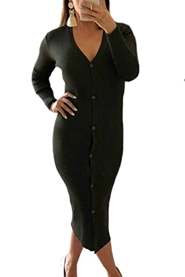 e789547b4a Women Bodycon Dresses V Neck Button Down Midi Knitted Sweater Dress Black XS