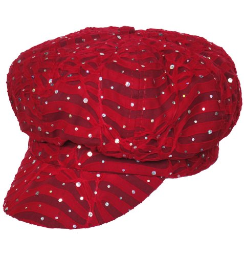 Sequin Newsboy Hat Cap - Chemo Hat Glitter Sequin Red Newsboy Fitted for Women with Cancer Chemo Hair Loss