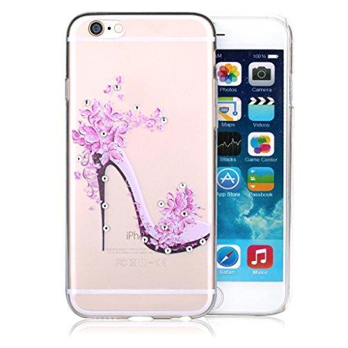 """Infinite U Jewellery Transparent TPU Gel 3D Bling Strass Fleur Rose Chaussures à Talons Hauts Case/Coque/Etui de Téléphone Mobile pour iPhone 6/6s 4.7"""" Femme"""