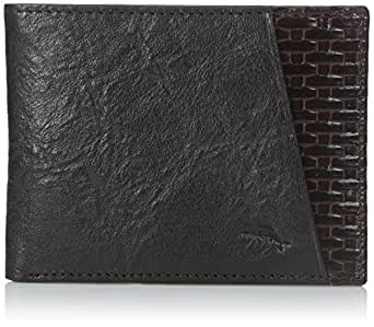 Tommy Bahama Men's Milled Leather and Basket Weave Slimfold,Black,One Size