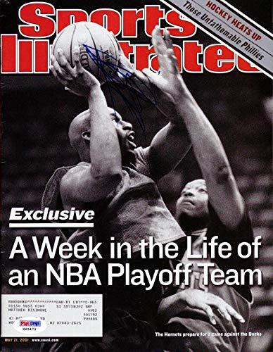 Baron Davis Autographed Sports Illustrated Magazine Charlotte Hornets #X65473 PSA/DNA Certified Autographed NBA Magazines