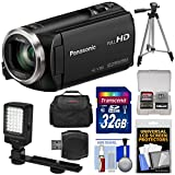 Panasonic HC-V180 HD Video Camera Camcorder with 32GB Card + Case + Tripod + LED Light + Reader + Kit