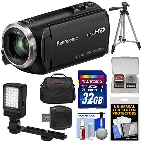 Panasonic HC-V180 HD Video Camera Camcorder with 32GB Card + Case + Tripod + LED Light + Reader + Kit by Panasonic