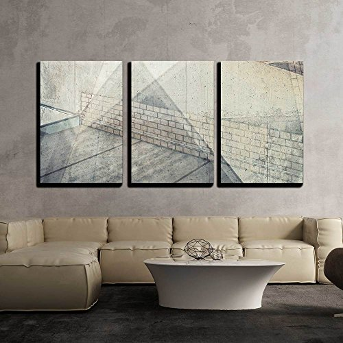 wall26 - 3 Piece Canvas Wall Art - Abstract Multi Exposure Background. Architectural Details. - Modern Home Decor Stretched and Framed Ready to Hang - 24