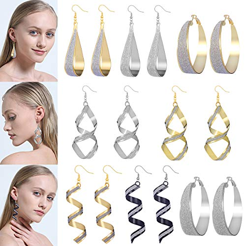 - AIDSOTOU 8 Pairs Scrub Teardrop Circle Spiral Hook Dangle Earrings for Women Girls Gold Silver Plated Chic Alloy Hoop Drop Earrings