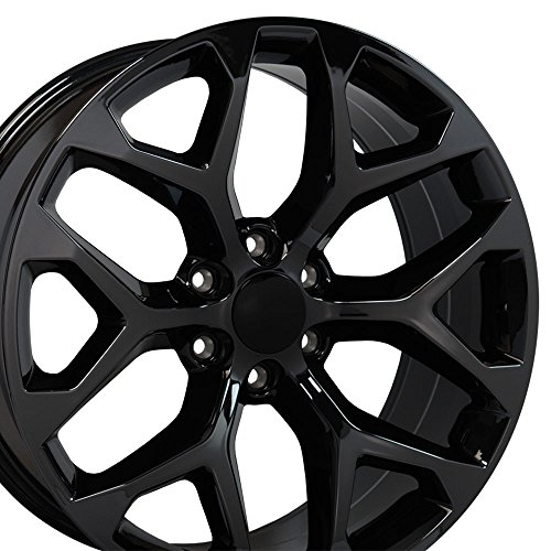 20x9 Wheel Fits GM Trucks & SUVs - GMC Sierra Style Black Chrome Rim, Hollander 5668 - SET