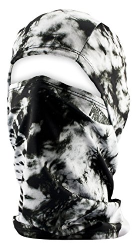 Phunkshun Wear - Convertible Ballerclava - Hinged Design Balaclava - Moisture-Wicking, UPF 50+, Odor Control Fabric - Awesome Ski Neck Warmer or Neck Gaiter That Fits Under Helmets - Made in the USA (Tie Dye Black)