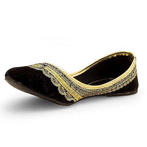 r Rajasthani/ Jaipuri Ethnic Velvet Mojari/Jutti With Embroidery Work for Girls/ Women's (40, Golden- Embro) (Jaipuri Velvet)