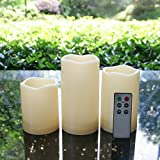 "Outdoor Flameless LED Candles with Remote and Timer - Long Lasting Waterproof Realistic Flickering Battery-operated Powered Electric Electronic Plastic Resin Pillar Candle Set 3""(D)x4"" 5"" 6""(H) 3-Pack"