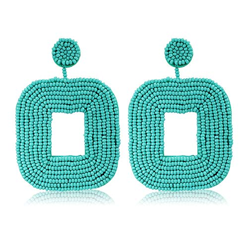 Women's Beaded Drop Earrings Bohemian Beaded Square Hoop Dangle Statement ()