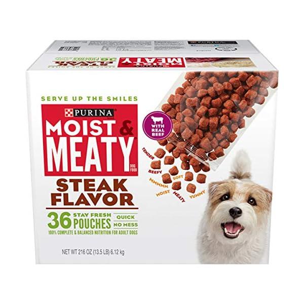 Purina Moist & Meaty Wet Dog Food, Steak Flavor – 36 ct. Pouch