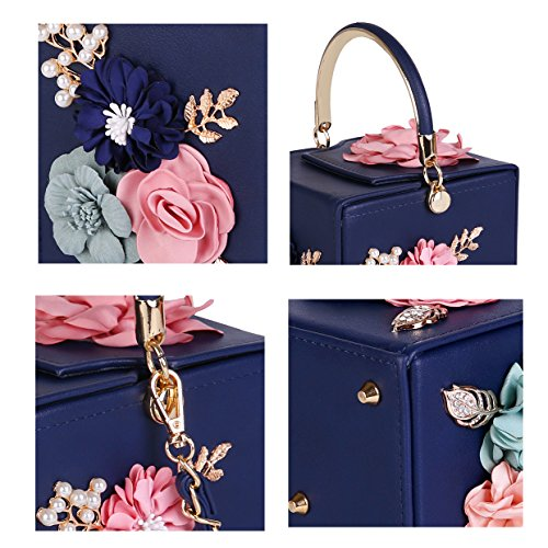 Party For 3D Dimensional Flower Clutch Blue Evening Xw6fSw