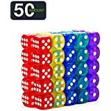 50-Pack 14MM Translucent & Solid 6-Sided Game Dice 5 Sets of Vintage Colors Dice for Board Games and Teaching Math Dice Set Classroom Accessories dice Set RPG dice