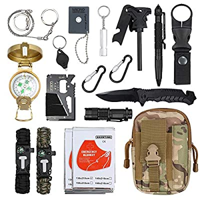 Emergency Survival Kit Justech Upgraded 18 in 1 Outdoor Survival Gear Kit Emergency SOS Survive Tool with Bracelet Temperature Compass Fire Starter Flashlight More for Wild Adventure Outdoor Sports from Justech