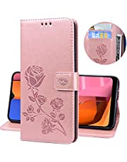 Miagon Wallet Case for Huawei Y6 2019,PU Leather Magnetic Rose Flower Pattern Flip Protective Cover with Kickstand Card Holder Function,Rose Gold