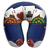 Ministoeb Creative U Shaped Neck Pillow Poker Ace And Dice Design Comfortable Soft Neck Support Pattern Pillow For Rest,Travel,Car,Airplane,Bed,Sofa