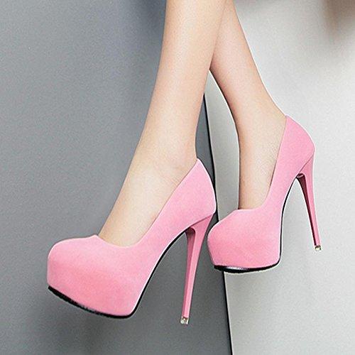 MZG Zapatos de mujer Ate los tacones altos de cabeza redonda impermeable del Banco de tacón fino y zapatos Pink