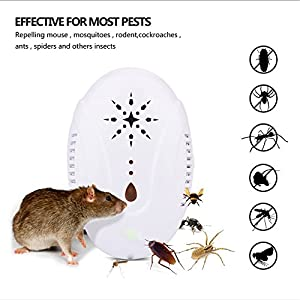UnitedPlug Ultrasonic Pest Repellent - Electronic Pest Control Plug In-Pest Repeller for Insect - Mice , Roaches , Bugs , fleas , Mosquitoes , Spiders (White)